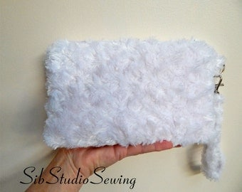 "White Minky Clutch, 9 x 5.5 inches, Fits iPhone 6 & 7 Plus, Smartphone up to 6.75"" Length, Pockets, Cell Phone Wristlet, White Minky Fur Bag"
