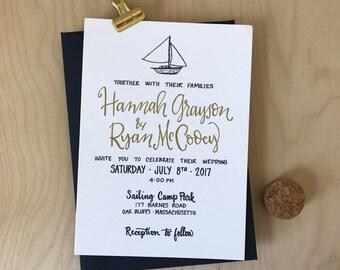 Sailboat Wedding Invitation - Nautical Wedding Invitation Navy & Gold Invitation ~ Yaucht Wedding Invite - Beach Wedding Invitation