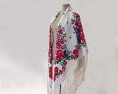 white Russian shawl, silk shawl, fringed shawl, white, purple, orange, white floral shawl, rustic shawl, bohemian, cotton shawl, autumn fall