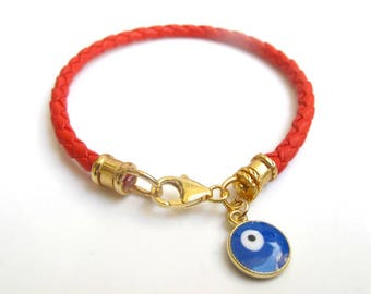 kabbalah red leather bangle lucky charm evil eye bracelet