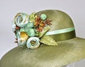 Custom Listing for Rebecca Moss Green Parasial Straw Miss Fisher Cloche Hat