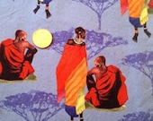 SALE African people and bird fabric... rare OOP Julia Cairns fabric... 6 pieces