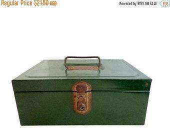 SALE Vintage Metal Cash Box- Industrial decor- Green Rusty - Office Storage - Farmhouse Mid-century