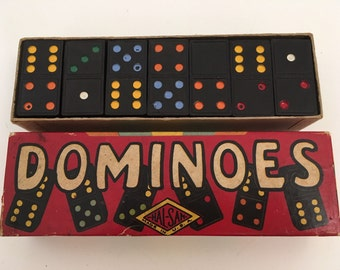 Vintage Hal-Sam 610R Double Six Colorful Wood Dominoes Board Game
