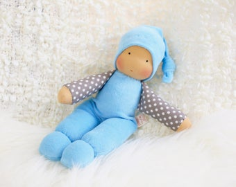 cuddle doll, light blue, 13 inch, soft doll, waldorf doll, steiner doll,