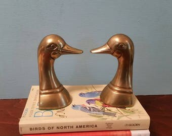 Small Brass Duck Bookends