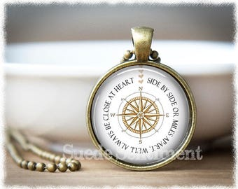 Best Friend Jewelry • Long Distance Friends • Compass Pendant • Friendship Necklace • Going Away Gift