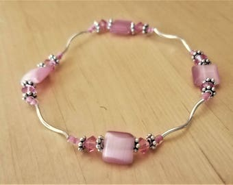 Pink Bracelet Pink jewelry Pink crystals Pink beads Breast cancer awareness Breast Cancer jewelry