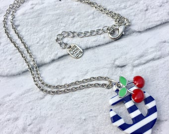 Anchor Cherry Rockabilly Tattoo Necklace