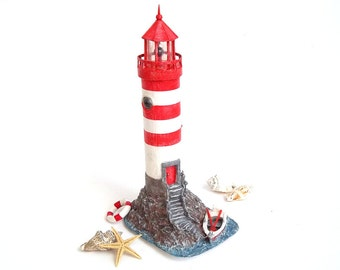 SALE - 10% off! Miniature Lighthouse. Lighthouse Paper Sculpture. Lighthouse Art Ornament. Eco Friendly House. Unique Gift.