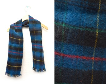 80s Wool Blue Black Plaid Frayed Patterned Winter Scarf