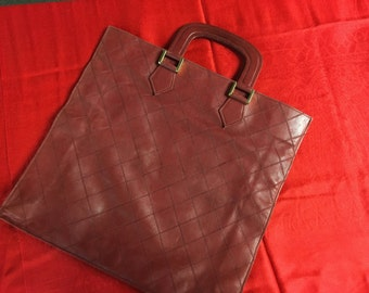 Vintage Chanel quilted wine colored leather tote PRICE REDUCED