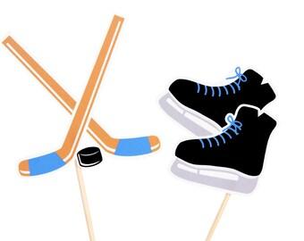 Blue Hockey Cupcake Toppers / Hockey Birthday / Hockey Stick Cupcake Topper / Ice Skate Cupcake Toppers / Hockey Skate Cupcake Topper