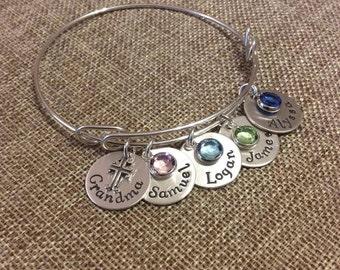 Grandma Sterling Silver Bangle Bracelet, Mom Personalized Bangle Bracelet, Kids Names Bracelet For Mom, Grandma Bracelet, Mom Bracelet
