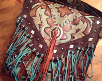 ON SALE Western brown and turquoise embossed leather fringe crossbody purse