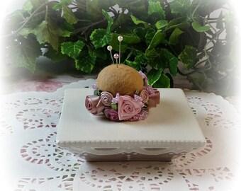 Petite Mocha and Roses Pin Cushion