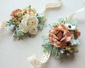 "Wedding Corsage, Wrist Corsage, Blush Wrist Corsage, Prom Corsage, Boho Wedding, Blush Wedding, Mother of the Bride Corsage, ""ZEN BLUSH"""