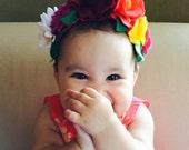 For babies: Authentic Frida Kahlo / Catrina/Mexico flower headband. Day of the dead hair piece.