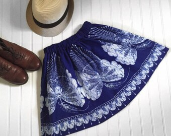Blue Batik Butterfly Print Skirt, Versatile Cotton Summer Skirt Size 8 10 12 Girls