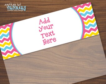 Editable Chevron Bag Toppers in Pink, Blue and Yellow, Printable Easter Treat Bag Labels in THREE sizes, INSTANT DOWNLOAD digital file