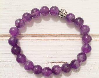 Amethyst meditation beaded bracelet with pave center; purple beaded bracelet; February birthstone; pave rhinestone