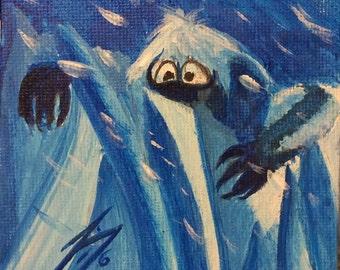 Abominable Snowman Peeking Through the Ice  & Snow - Tiny Original Painting