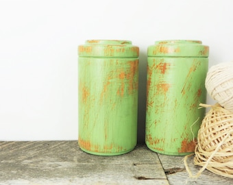 Salt and Pepper Shakers - Shabby Chic Green - Kitchen Decor