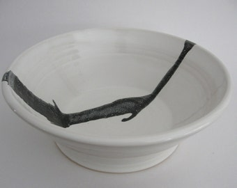 Handmade Serving Bowl. White with Black Strip Pottery Bowl. Stoneware Pottery Bowl. White and Black Salad Bowl.