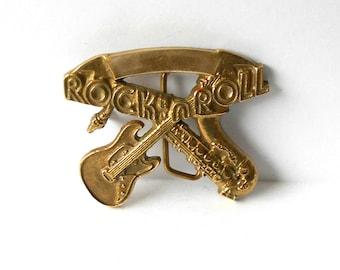 Vintage Brass Rock 'n Roll Buckle Tanside