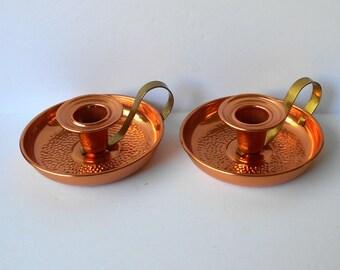 Vintage Candle Holders Coppercraft Guild Hammered Copper