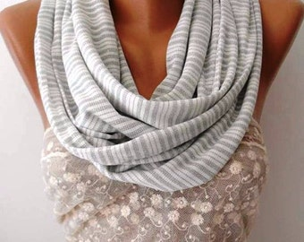 Christmas Gift White Silver Infinity Scarf Fashion Accessories Winter Scarf Women Fashion Accessories Christmas Gift For Her Black Friday