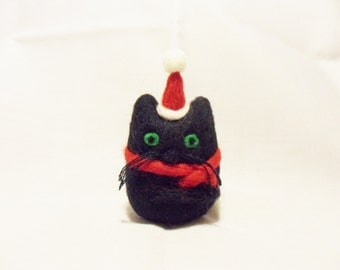 Needle Felted Christmas Cat - Christmas Ornament - 100% merino wool - needle felted cat - wool felt cat - Christmas cat