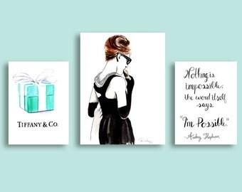 Audrey Hepburn Breakfast at Tiffanys Watercolor Painting, Audrey Hepburn Wall Art Prints, Audrey Hepburn Print, Audrey Hepburn Art