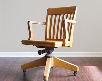 vintage wooden office chair. vintage wooden swivel rolling desk chair office g