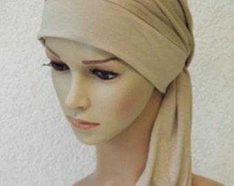 Chemo head wear, turban with ties, chemo turban, bad hair day scarf, women's head scarf, viscose jersey headscarf, chemo cap