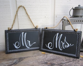 Chalkboard Chair Signs / Mr. & Mrs. Chair Signs (Pair)