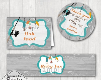 Matching Fishing Birthday Party Favor Thank You Tags Water Bottle Labels Food Place Holder Personalized Cupcake Toppers Printable PDF