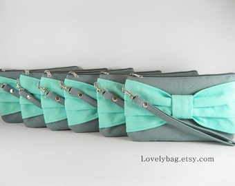 SALE - Gray with Mint Clutch / Bridal Clutch / Bridesmaids Clutch / Wedding Clutch | 9.90 USD per piece.