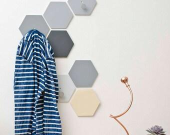 Hexagon wall hooks set with knobs - Wall fixed Coat Hook - Natural Gray Entryway coat hooks - Modern wall hook bathroom - Ready to ship