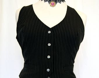 ladies pinstripe suiting taffeta lining fitted waistcoat goth steampunk Victorian Equestrian OBSIDIAN