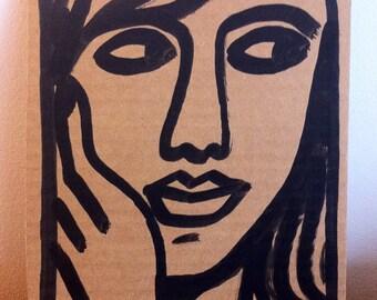 Dessin original, original artwork, portrait sexy girl sur carton