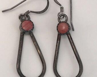 SALE Vtg Old New Stock Sterling Navajo Coral? Earrings
