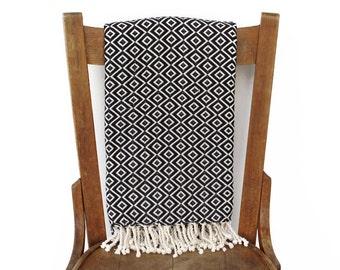 Sofa Throw Peshtemal Turkish Towel Couch Throw Beach Blanket Handwoven Cotton Turkish Bath Towel Fouta Towel Beach Wrap BLACK LALE DIAMOND