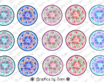 """MK Designs - 1"""" DIGITAL Bottle Cap IMAGES - Watercolor Poinsettas- For Use On Finished Products & For Precut sale"""