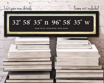 Latitude Longitude Sign, Wedding Sign, Wedding Coordinates, Custom Coordinates, Choose your own location and text, 20 x 4.5