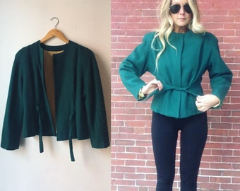 Silk lined 1940s wool structured green light jacket