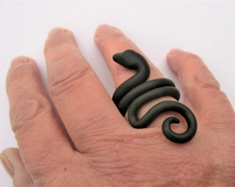 Black snake ring/ flexible polymer clay can bend out/  different shapes and sizes