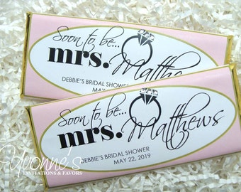Bridal Shower Candy Bar Wrappers - Chocolate Bar Favors -in Blush Pink and Gold-Soon to Be Mrs- Wedding,  Shower, Bachelorette Party Favors