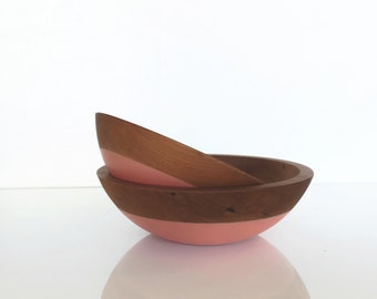 Cherry Wood Nesting Bowls, color dipped bowls, solid wood bowls, salad bowl, popcorn bowl, serving bowl set by Willful