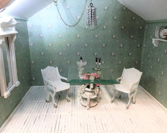 Shabby chic dollhouse glass dining table set - Free Shipping to the US